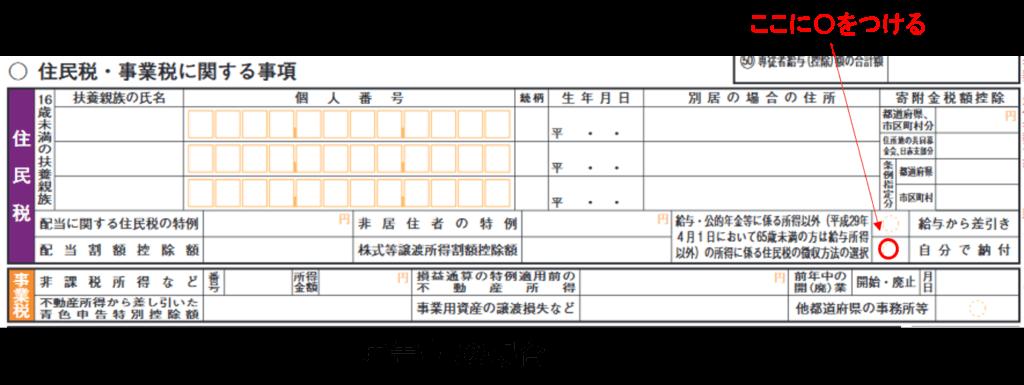 住民税の普通徴収の選択(申告書B)