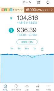 ウェルスナビのアプリ画面