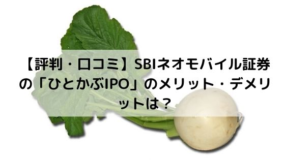 SBIネオモバイル証券のひとかぶIPOのメリット・デメリット